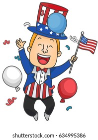 Illustration of a Man Wearing Uncle Sam Costume Jumping while Holding an American Flag