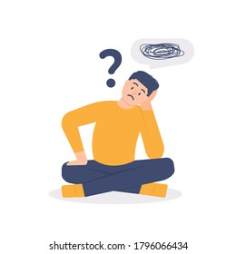 illustration of a man who is asking questions or is confused because he gets into a problem. the concept of running out of ideas, daydreaming, sad, depressed. flat design. can be used for elements
