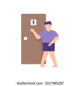 illustration of a man who needs to pee. knock on the toilet door. expression of a person who wants to urinate. flat cartoon style. vector design
