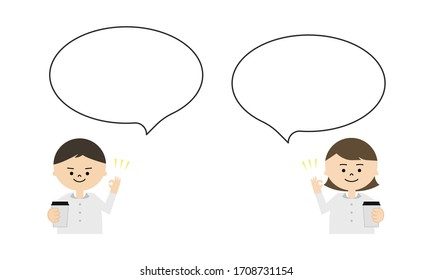 Illustration of man and woman holding coffee cup with speech bubble. showing ok sign