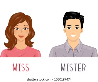 Illustration of a Man and a Woman with Miss and Mister Honorific for Teaching
