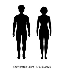 illustration of man and woman silhouettes in white background