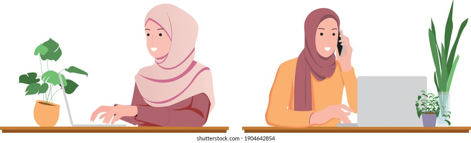illustration of man and women infront of laptop doing video call and some working from home