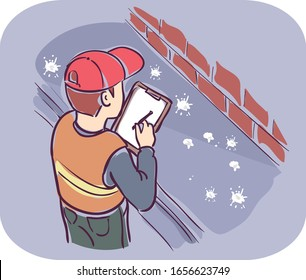 Illustration of a Man Writing Down Report on Clipboard While Inspecting Pigeon Feces on Street