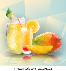 Illustration of mango fruit with glass full of lemonade