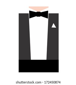 Illustration of a man's formal attire, black bow tie
