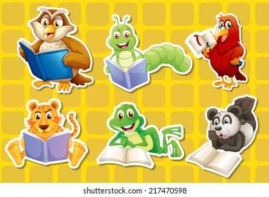 Illustration of many animals reading books