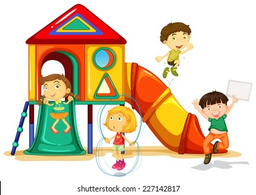 illustration of many children playing on a slide