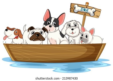 Illustration of many dogs on a boat