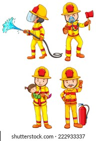 Illustration of many firemen and equipments