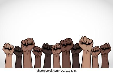 illustration with many fists up, dark skin, vector of cartoon.
