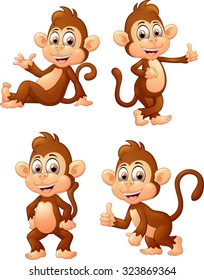 illustration of many monkey expressions