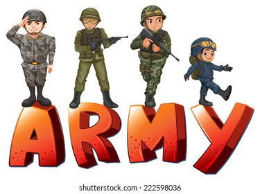 Illustration a many soldiers with guns