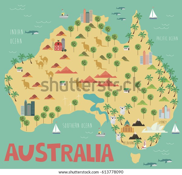 Australia Map Landmarks.Illustration Map Australia Landmarks Vector Illustration Stock
