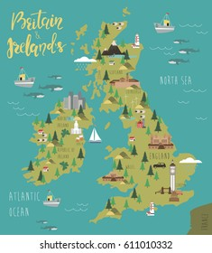 Illustration map of Britain and Ireland's with landscape. Vector illustration