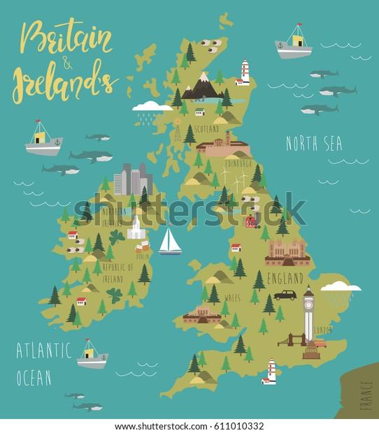 Kuva Kartta Britannian Ja Irlannin Maisema Arkistovektori