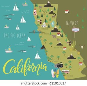 Illustration map of California with animals and landmarks. Vector illustration