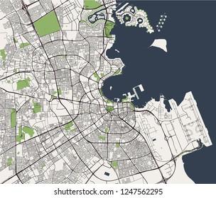 illustration map of the city of Doha, Qatar
