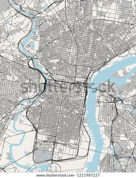 Illustration Map City Philadelphia Pennsylvania Usa ...