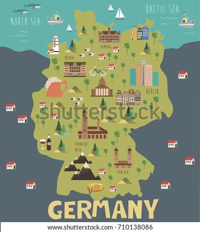 Illustration Map Germany Landmarks Editable Vector Stock Vector
