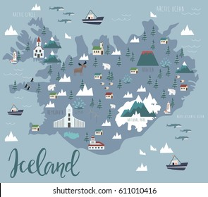 Illustration map of Iceland with animals and landmarks. Vector illustration