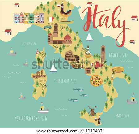 Free Map Of Italy.Illustration Map Italy Animals Landmarks Vector Stock Vector