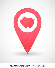 Illustration of a map mark icon with a pig