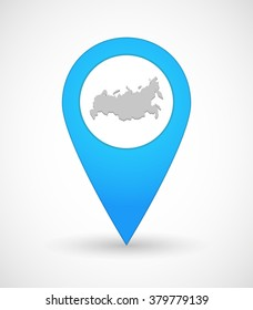 Illustration of a map mark icon with  a map of Russia