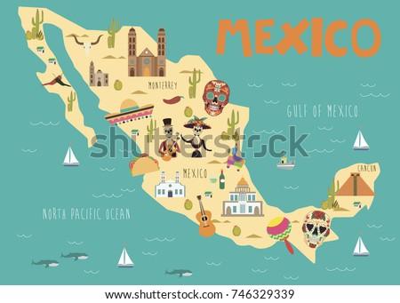 Illustration Map Mexico Landmarks Vector Illustration Stock ... on