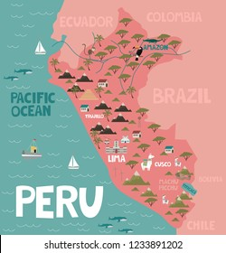 Illustration map of Peru with city, landmarks and nature. Editable vector illustration