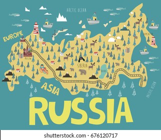 illustration map of Russia with landmarks, animals and landscape. Editable vector illustration