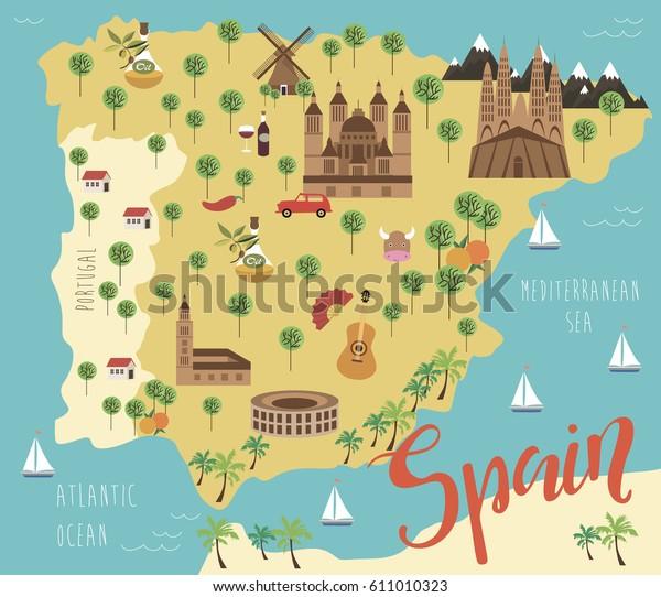 Map Of Spain Landmarks.Illustration Map Spain Animals Landmarks Vector Stock Vector