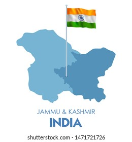 illustration of map of Union Territory Jammu & Kashmir and Ladakh of India with Tricolor Indian Flag