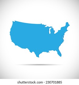 Illustration of the map of the United States of America isolated on a white background.