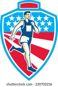 Illustration of a marathon runner running set inside shield crest with american stars and stripes in the background done in retro style.