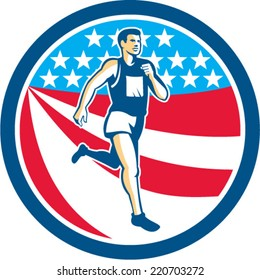 Illustration of a marathon runner running set inside circle with american stars and stripes in the background done in retro style.