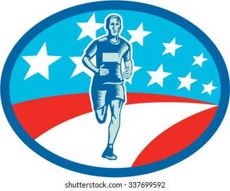 Illustration of a marathon runner viewed from front set inside oval shape with usa flag stars and stripes in the background done in retro woodcut style.
