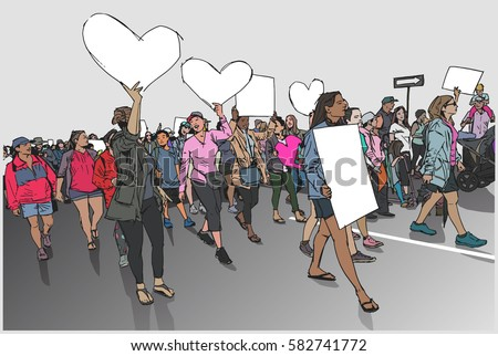 Illustration of marching crowd demonstrating for human rights with blank signs and banners in color