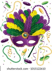 Illustration of a Mardi Gras mask with beads, dublooms and confetti