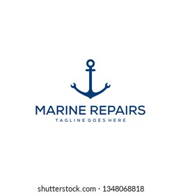 Illustration of a marine sign with a spanner at the end of the anchor as this sign to repair any damage related to marine equipment.