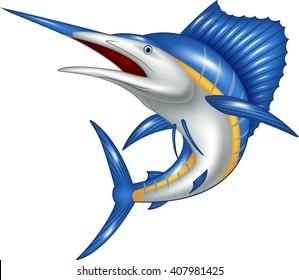Illustration of marlin fish cartoon
