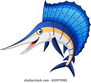 Illustration of marlin fish cartoon