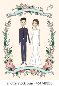 Illustration of married couple in wedding invitation. Love and wedding cards. Romantic concept. Vector illustration
