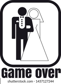 illustration of married with text game over flat design