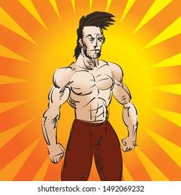 Illustration of a martial arts fighter