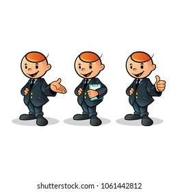 Illustration mascot business man with outfit