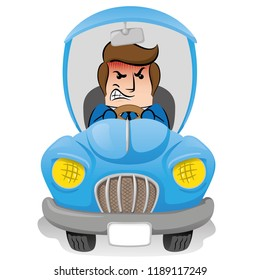 Illustration of mascot executive person with social, nervous, brave clothing while driving a car. Ideal for catalogs, information and institutional material