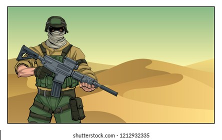 Illustration of masked soldier on a mission in the desert.