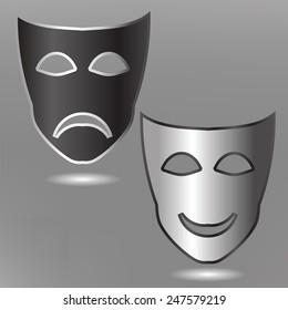 illustration  with masks on grey background