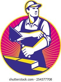 Illustration of a mason construction working holding trowel rolling up sleeves laying bricks set inside circle done in retro style.
